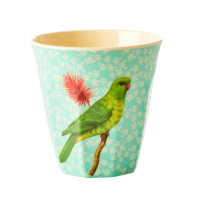 GOBELET MELAMINE MEDIUM VINTAGE BIRD GREEN