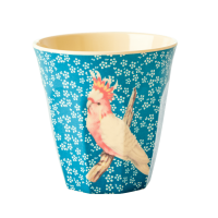 GOBELET MELAMINE MEDIUM VINTAGE BIRD BLUE