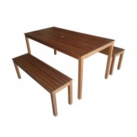 ENSEMBLE 3 PIECES MARQUEE (1 TABLE + 2 BANCS)
