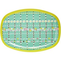 ASSIETTE RECTANGULAIRE MELAMINE RETRO FLOWERS